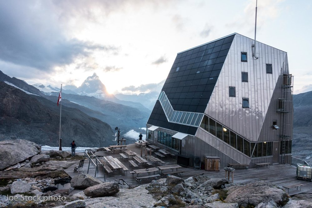 The Monte Rosa Hut with the Matterhorn beyond.