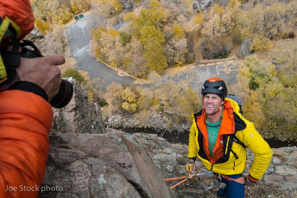Pat Ormond hamming it up for Karsten Delap's camera in Big Cottonwood Canyon near Salt Lake City. This was a field clinic on transitions between short-roping, fifth-class and rappel during the annual guide meeting of the AMGA.