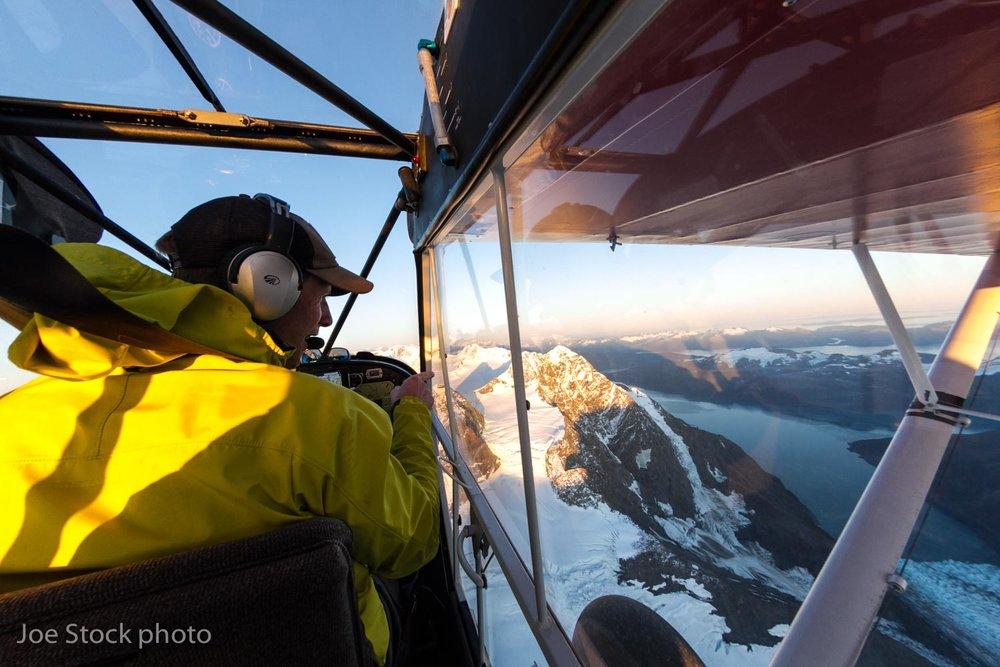 Back in Alaska! Evening flight to scope ski terrain with Jeff Conaway.