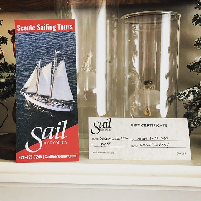 Sailing makes a great gift for anyone on your gift list! We have Sail Door County gift certificates available online or by calling 920.495.7245 . . . . . #sisterbaywi #saildoorcounty #doorcountywi #sailing #summerbreeze #christmastree #lastminutegifts #christmas #giftideas #giftsforhim #giftsforher #familyfriendly