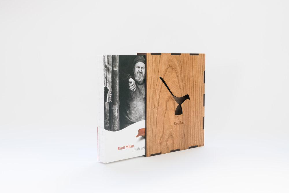 Cherry veneer wood slip case.