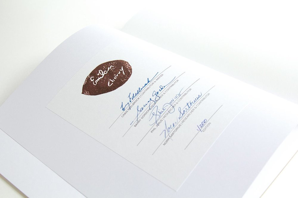 Includes signature plate hand signed by the members of the Emil Milan Research Team and hand stamped with an impression of Milan's own signature, carefully reproduced from the base of one of his artworks.  This is the closest you will get to an actual signature from the artist.