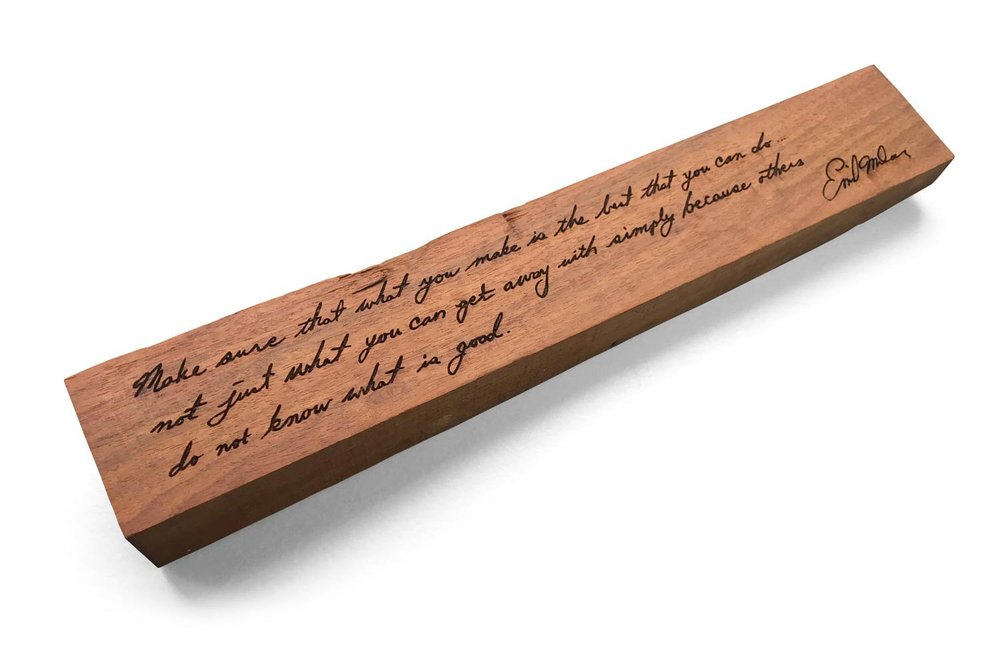 Includes a one-of-a-kind Milan wood keepsake  made out of a piece of wood collected from Emil Milan's workshop in Thompson, Pennsylvania after his death. The keepsake is laser etched with a quote attributed to Milan. It can be hung on a wall, placed on a shelf, or adorn a desk.  It is truly a rare Milan collectable.  The purchaser will be able to personalize the item by selecting the piece of wood along with the Milan quote to be etched on its surface.