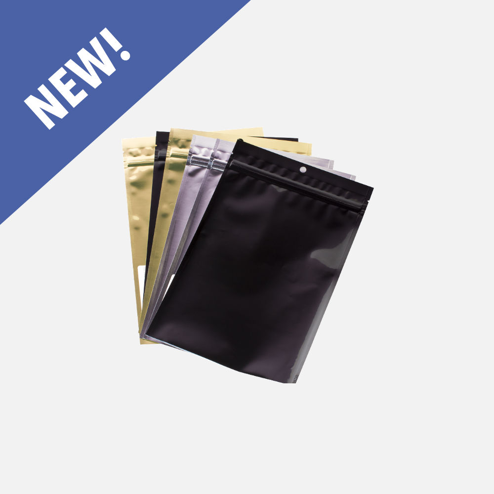 Clear/Shiny Back Zip Pouches