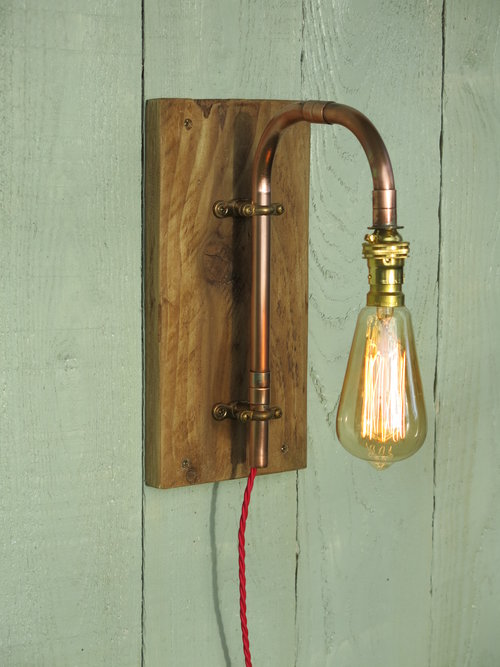 Copper wall light with wooden backboard, squirrel cage filament bulb ...