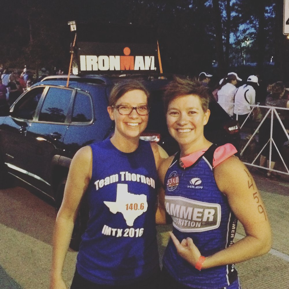 With Megan before the start of Ironman Texas 2016