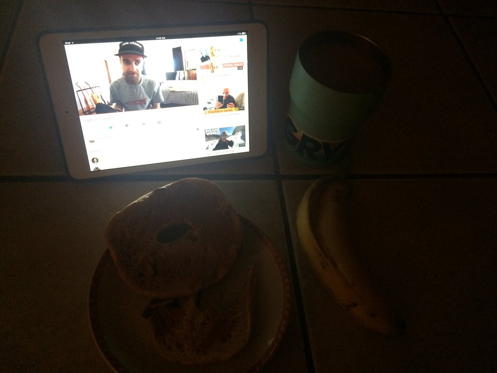 Breakfast and YouTube to start the day