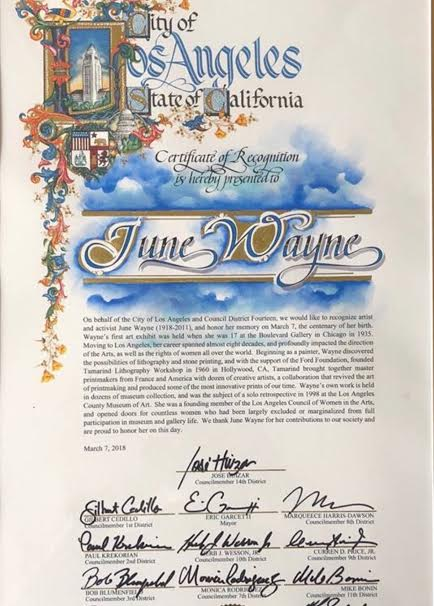 June Wayne City of Los Angeles