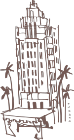 sunset tower illustration by donald robertson