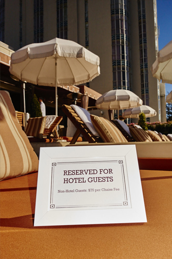 poolside lounges and umbrellas