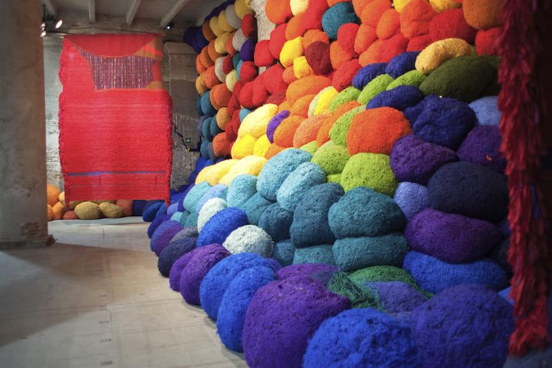 """""""Pavilion of Colors, installation by Sheila Hicks"""", Photo: Italo Rondinella. Courtesy: La Biennale di Venezia, [available]chromart.org."""