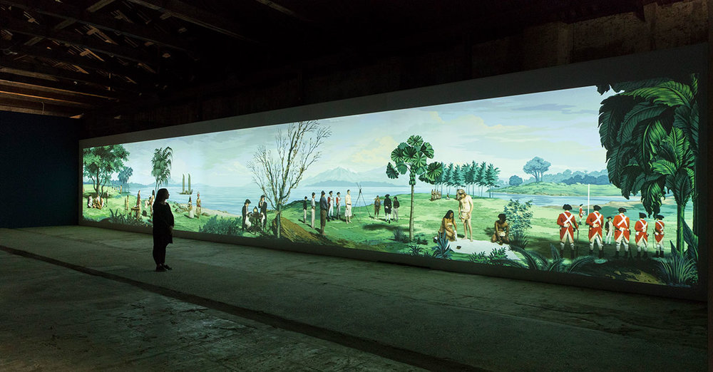 """Lisa Reihana, """"in Pursuit of Venus [infected]"""" at the New Zealand Pavilion, Venice Biennale 2017. Courtesy of the New Zealand Pavilion."""