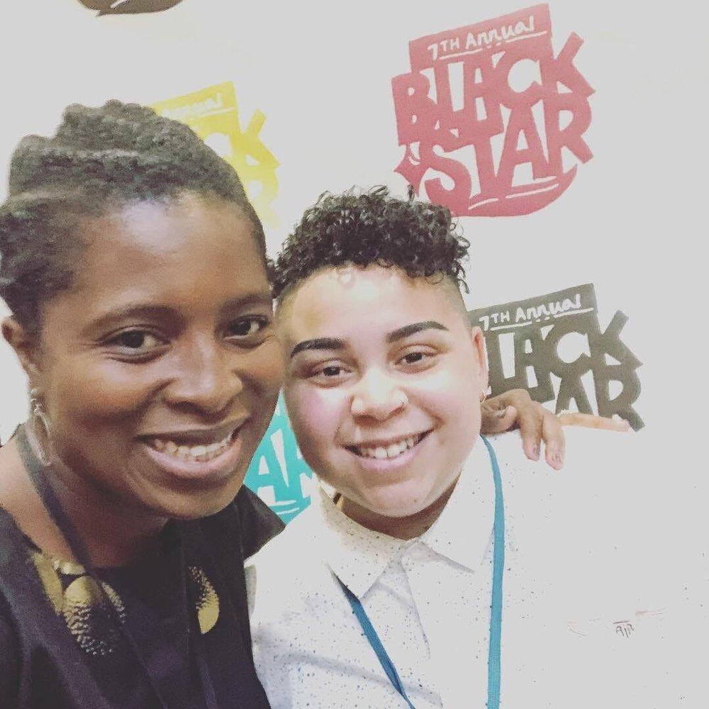 - Filmmaker Sekiya Dorsett (Left) and Leah Byrd (Right) catching up at the BlackStar Film Festival 2018.