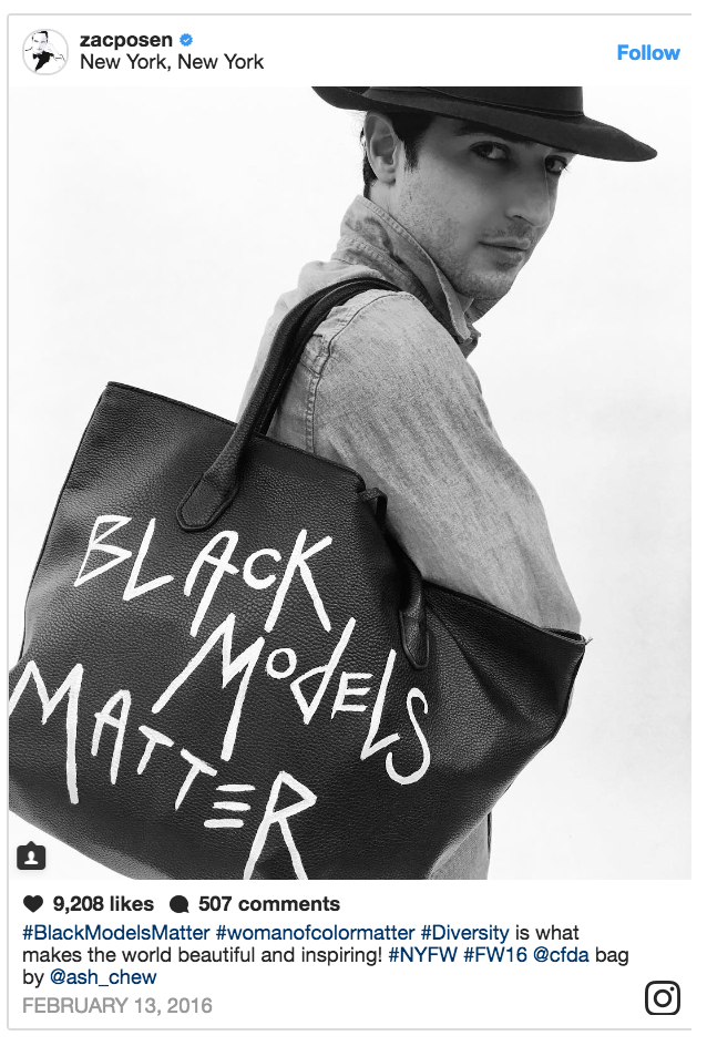 Designer Zac Posen with his #BlackModelsMatter Tote: Fashionista.com