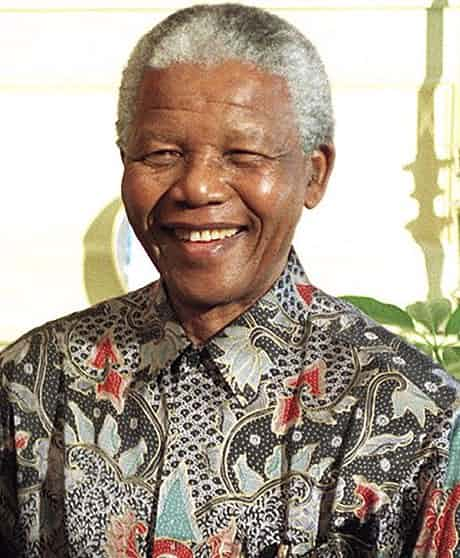 Mandela at his 79th birthday celebration in 1997. Photograph: PA