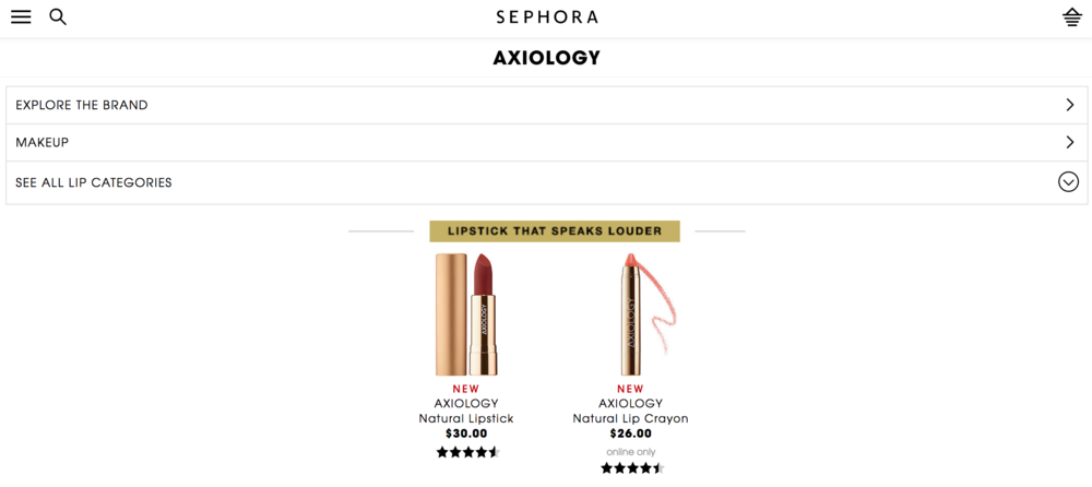Check out Axiology at Sephora