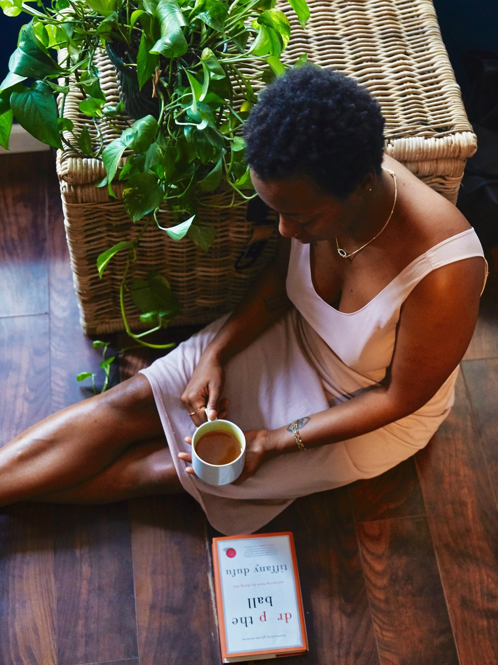 Dominique Drakeford sipping Golde Turmeric