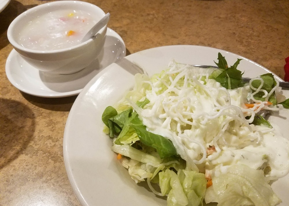 Joy Luck Green Salad and Egg Drop Soup