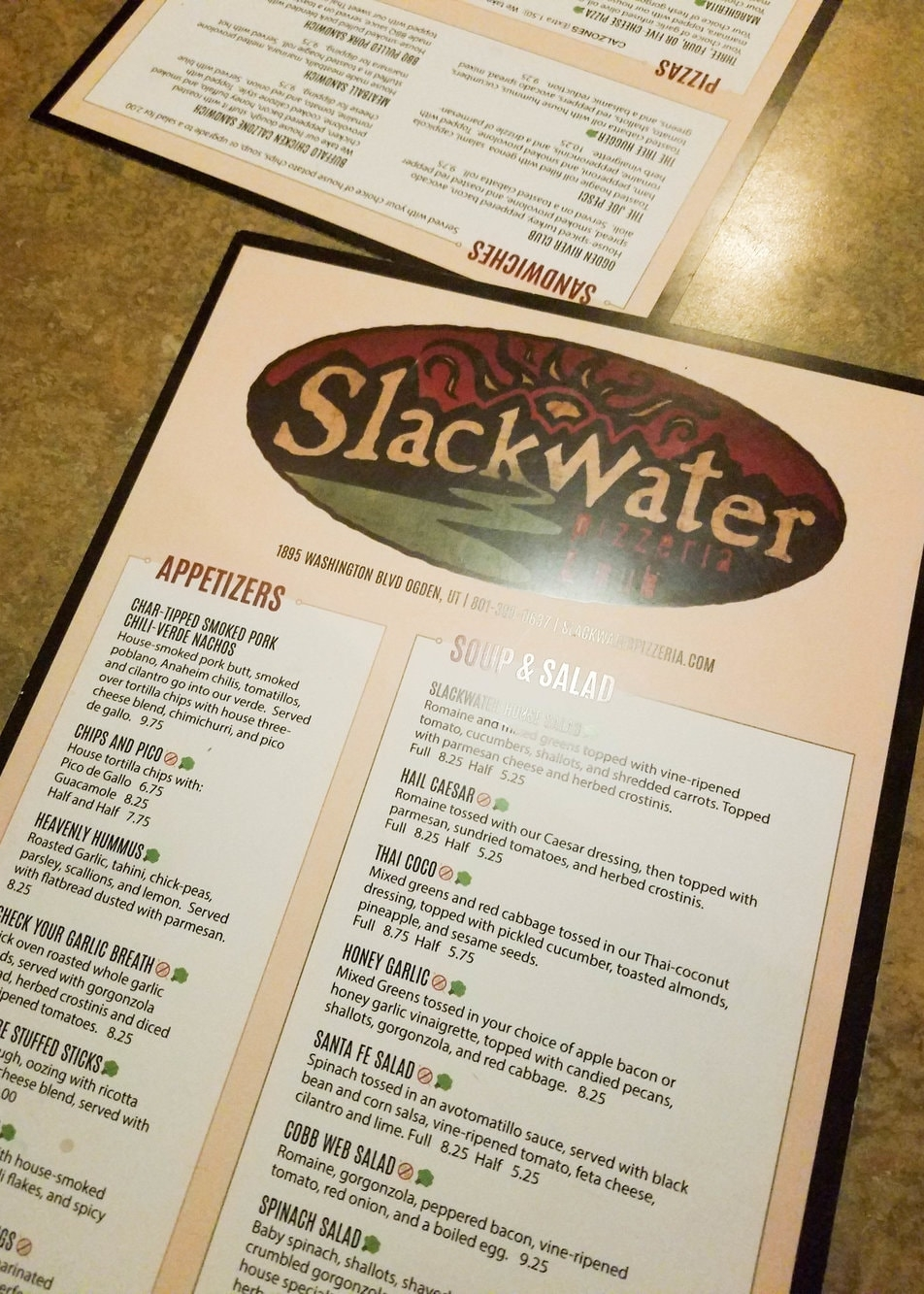 Slackwater Pub and Pizzeria Menu