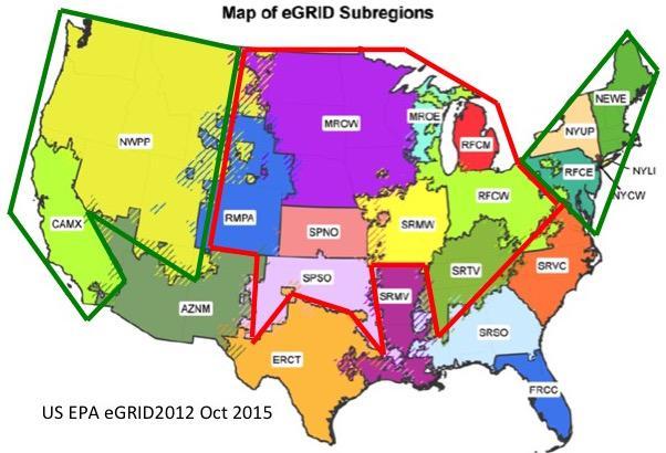 eGrid Subregions Map
