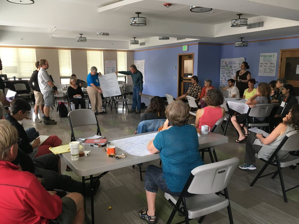 sharing the results of group Brainstorming on how to strengthen the head, heart, and hands of Transition. Photo by don Hall.