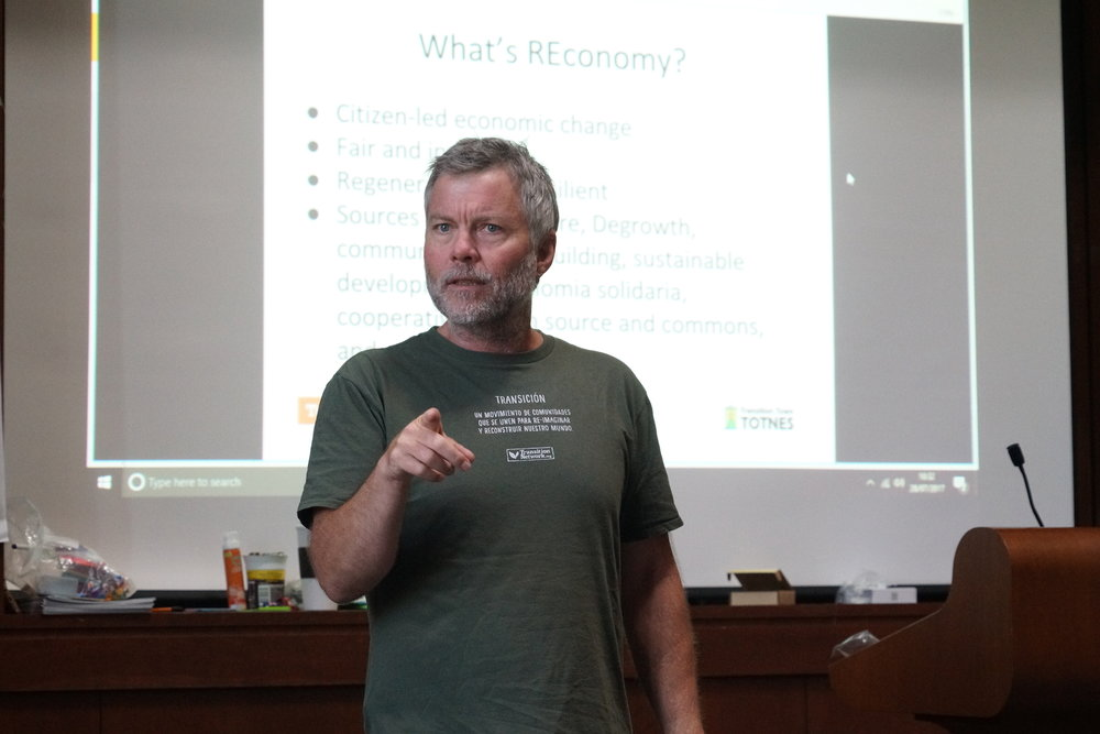 "Jay Tompt with the Totnes REconomy Project leads a two-day intensive on ""Skilling Up for Local Economic Resilience."" Photo by Teresa Konechne."