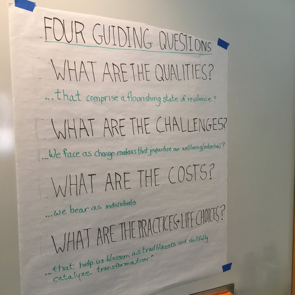 "Four key questions guiding the ""Deep Resilience"" intensive led by eco-centered psychologist Rebecca Blanco. Photo by Nils Palsson."