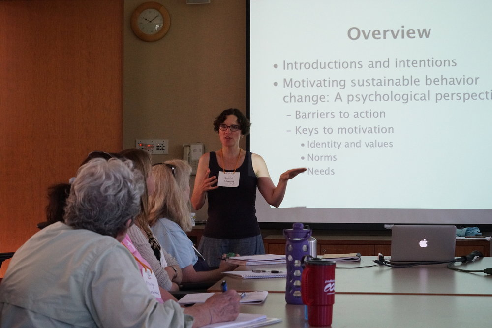 "Macalester College's own Christine Manning presents a workshop on ""The Psychology of Sustainability"" on Saturday morning during the main conference. Photo by Teresa Konechne."