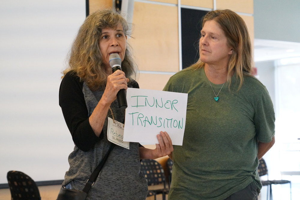 Rebecca Blanco of Tampa, Florida and Jul Bystrova of Sebastopol, California team up to host an Open Space discussion on Inner Transition. Photo by Teresa Konechne.