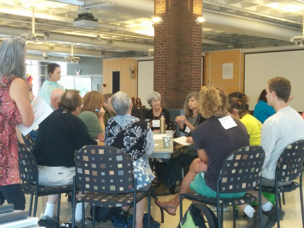 A large crowd has flocked to the Open Space discussion on Inner Transition, giving birth to a national Inner Resilience Network. Photo by Carolyne Stayton.