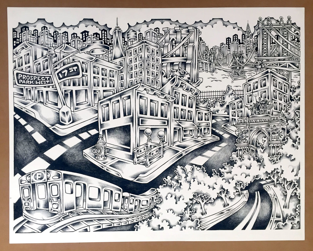 Brooklyn, 24%22X18%22 pen, Ink, and Balck Pencil .jpg