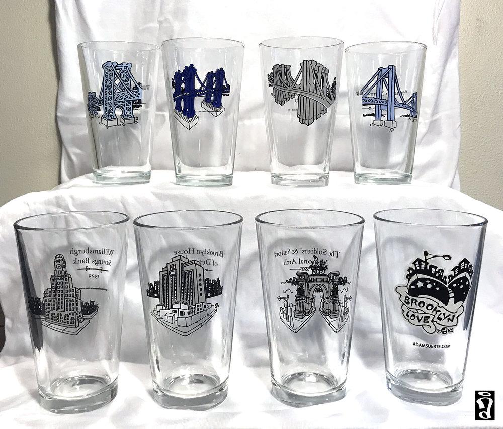 Brooklyn Landmark Pint Glasses