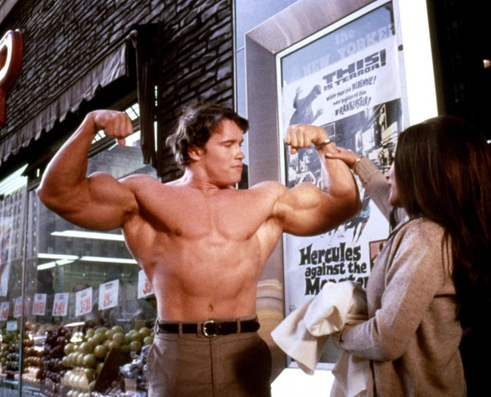 Arnold Schwarzenegger in  Hercules in New York  in his first role young shirtless