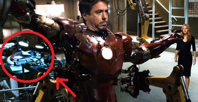 In the first Iron Man movie Captain America's shield can be seen