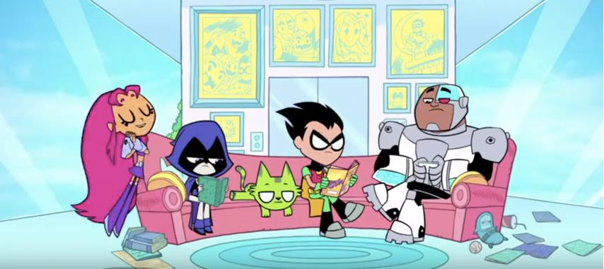 Robin Starfire Raven Beast Boy (cat) Cyborg  Scott Menville   Hynden Walch   Tara Strong   Greg Cipes   Khary Payton  Teen Titans Go!
