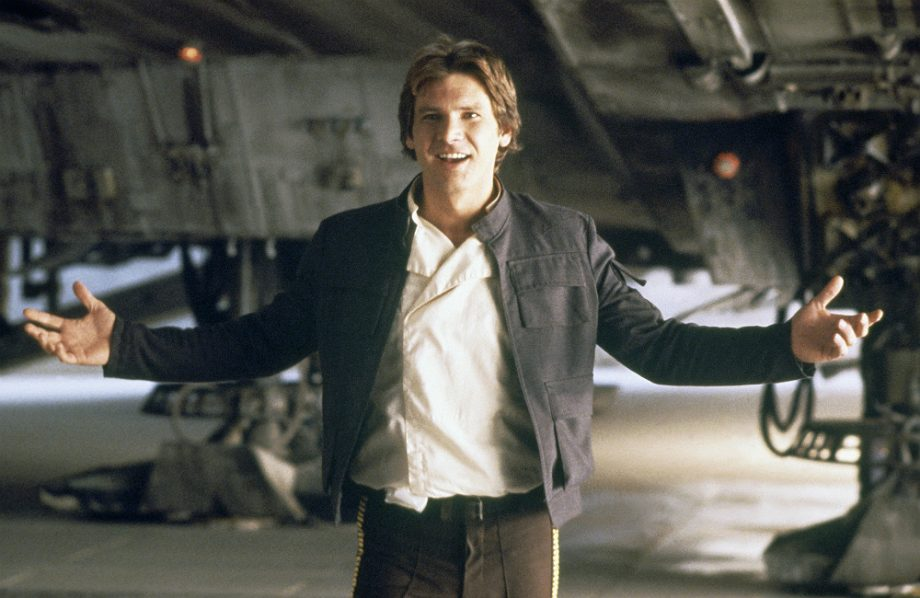 "Harrison Ford  as  Han Solo : a cynical smuggler hired by Obi-Wan and Luke to take them to  Alderaan  in his ship, the   Millennium Falcon  , co-piloted with  Chewbacca .  Lucas initially rejected casting Ford for the role, as he ""wanted new faces""; Ford had previously worked with the director on   American Graffiti  . Instead, Lucas asked the actor to assist in the auditions by reading lines with the other actors and explaining the concepts and history behind the scenes that they were reading. Lucas was eventually won over by Ford's portrayal and cast him instead of  Kurt Russell ,  Nick Nolte , [6]   Sylvester Stallone , [7]   Bill Murray , [8]  [9]   Christopher Walken ,  Burt Reynolds ,  Jack Nicholson ,  Al Pacino ,  Steve Martin ,  Chevy Chase ,  Billy Dee Williams  (who later played  Lando Calrissian  in the sequels), or  Perry King  (who later played Han Solo in  the radio plays )."