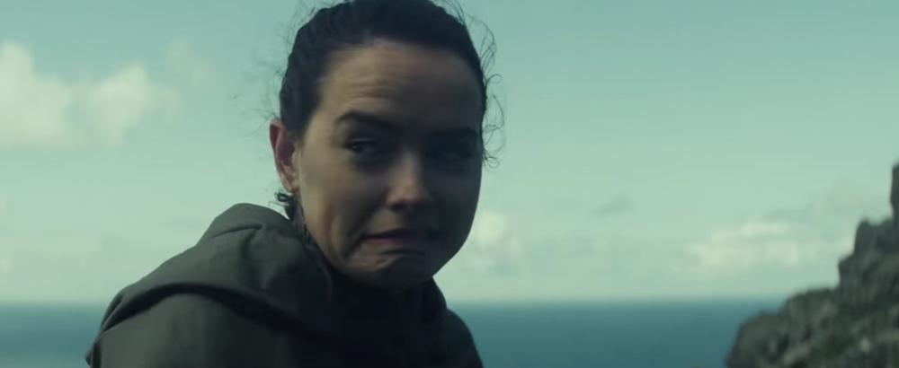 Daisy Ridley  as  Rey , a highly Force-sensitive scavenger from the desert planet  Jakku , who joined the Resistance and goes to find Luke Skywalker blooper