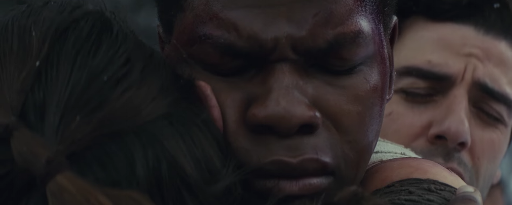 Daisy Ridley  as  Rey , a highly Force-sensitive scavenger from the desert planet  Jakku , who joined the Resistance and goes to find Luke Skywalker   John Boyega  as  Finn , a former  stormtrooper  of the  First Order  who defected to the Resistance   Oscar Isaac  as  Poe Dameron , a high-ranking  X-wing fighter  pilot in the Resistance.  blooper
