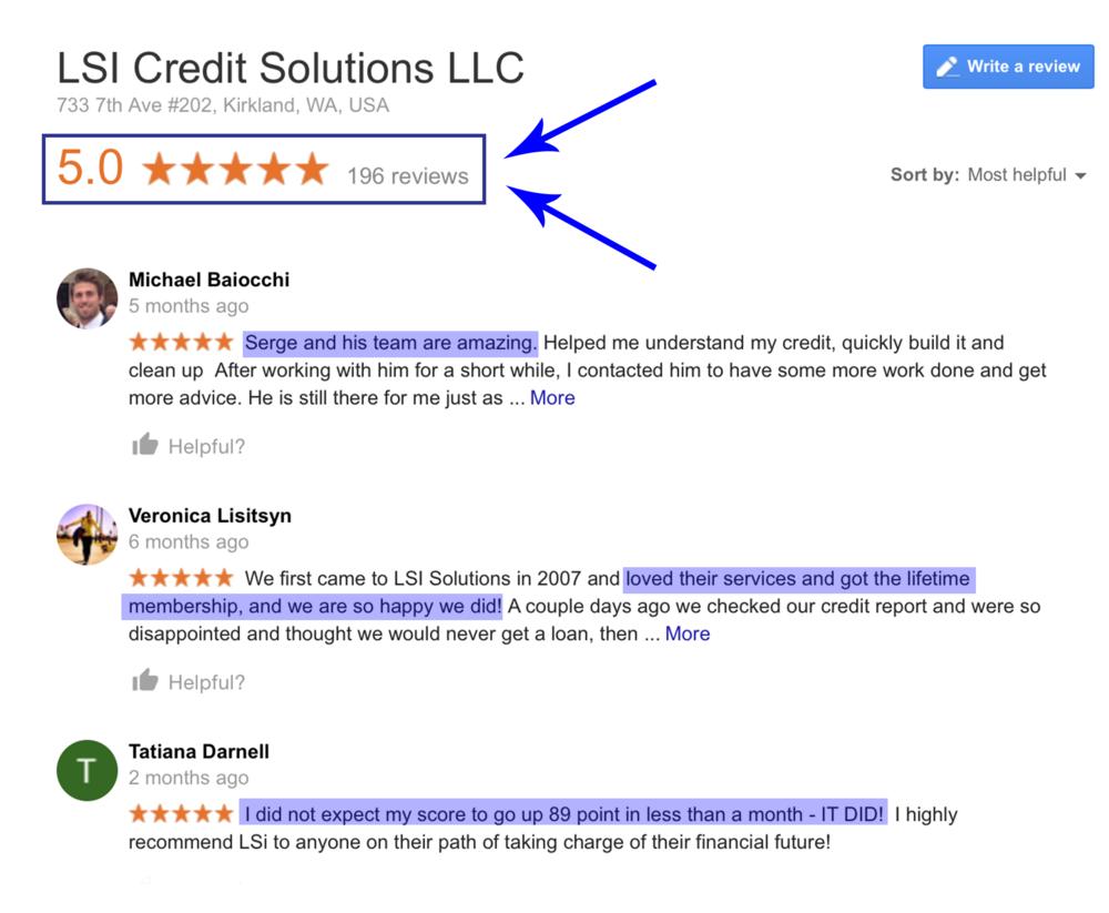 LSI Credit Solutions Google Reviews