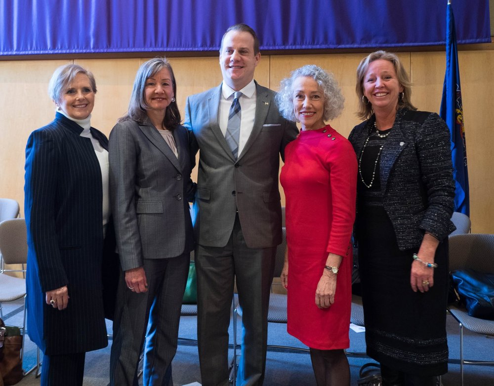 Congratulations again to Treasurer Patricia Maisano, Clerk of Courts Yolanda Van de Krol, Coroner Dr. Christina VandePol, and Controller Margaret Reif. Seen here with Brian McGinnis, chairman of the Chester County Democrats.