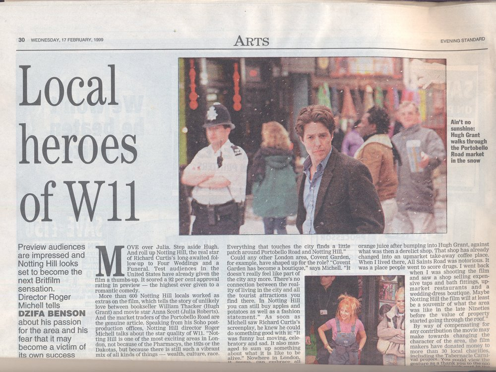 Interview with Roger Michell, director of the film Notting Hill, Evening Standard