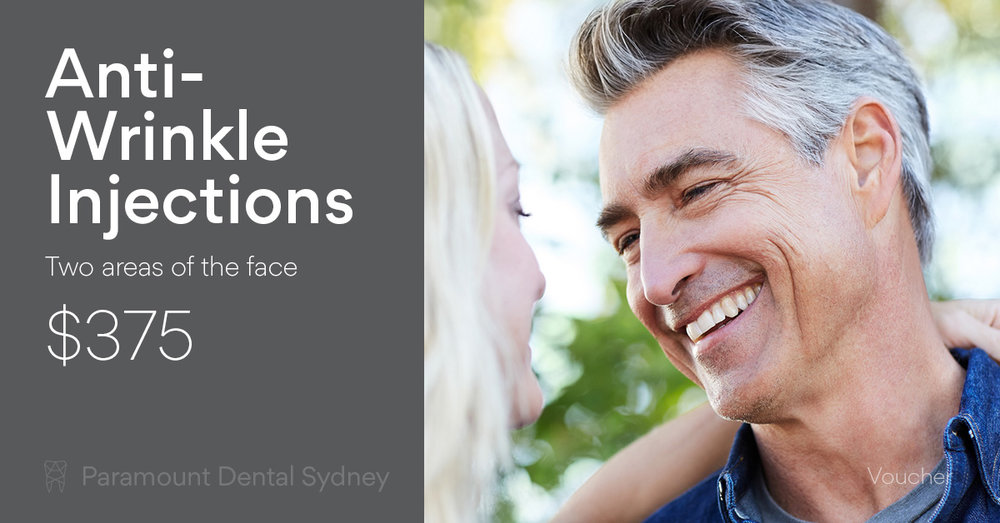 Anti-Wrinkle Injections Offer   $375 for Anti-Wrinkle Injections to two areas of the face. (Normally $500)   *Terms & Conditions