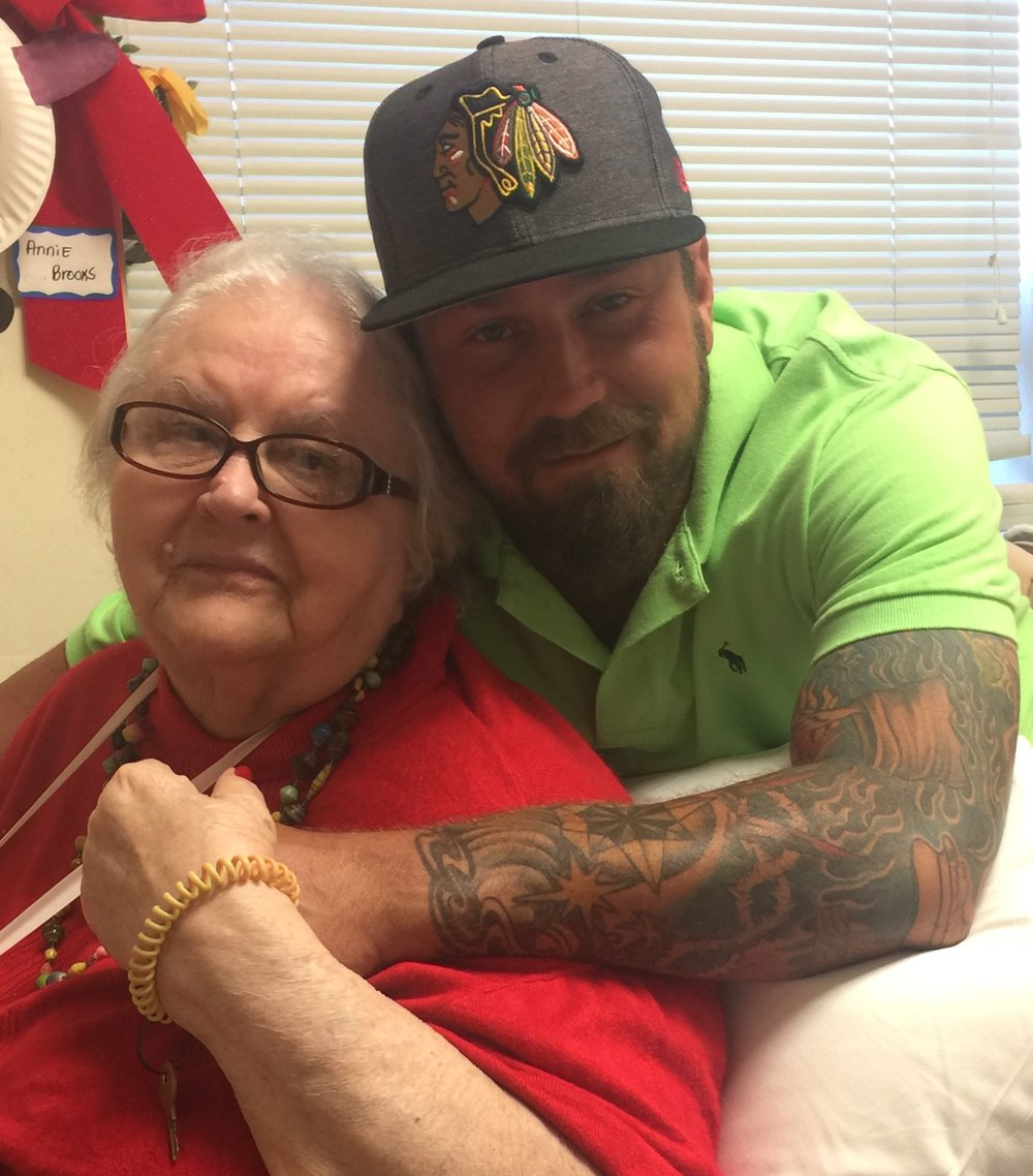 Brent with his grandmother (Mema) Mrs Annie Mae Brooks