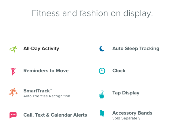 Fitbit Alta - Fitbit Alta™ syncs wirelessly to computers and 200+ devices, so you can log food, record workouts, explore your trends and connect with friends—all in one place.With metal, leather and classic accessory bands, and collections from the world's leading fashion designers, Fitbit Alta makes it easy to create a look that fits the occasion.More information can be found on the website by clicking here.