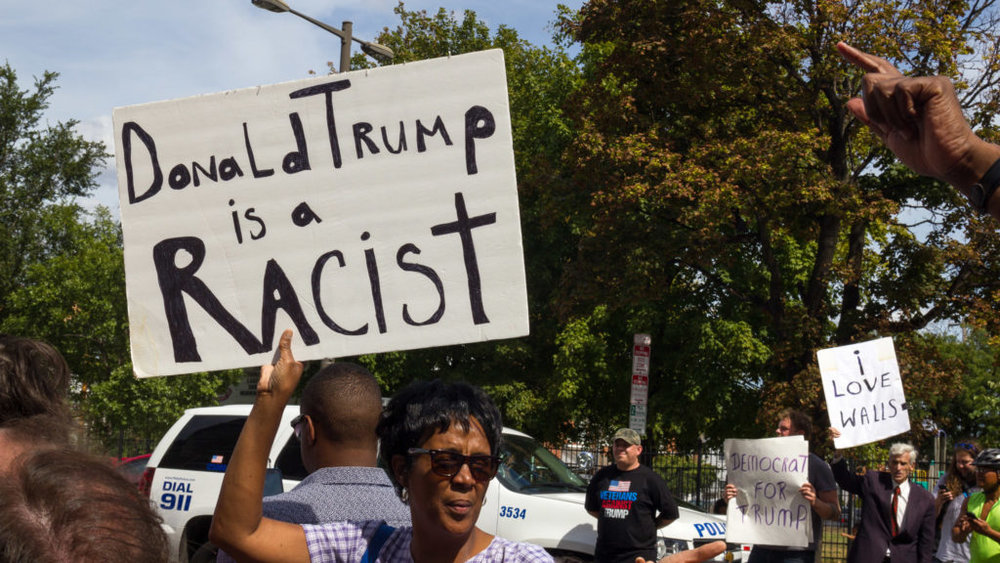 Around 60 people turned out to protest Donald Trump's meeting with black Philadelphia community members on Sep. 2, although a few people came to support the candidate instead. The protest was peaceful and lasted about six hours. (Kaylee Tornay/Billy Penn)