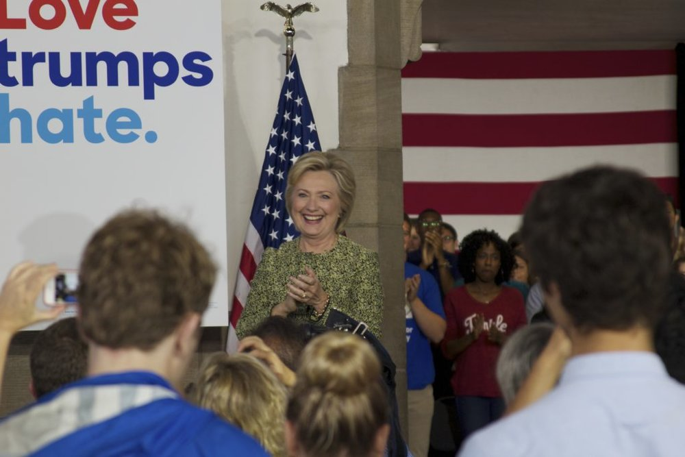 Hillary Clinton speaks to voters at a rally at Temple University on September 19. (Kaylee Tornay/Billy Penn)