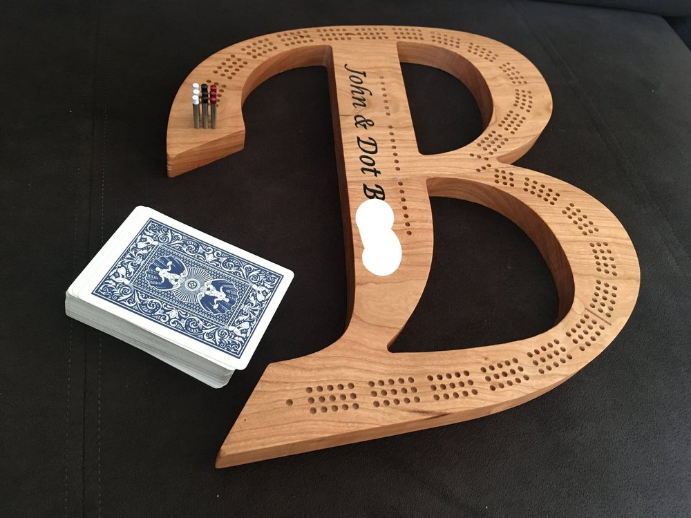 "Custom ""B"" Cribbage Board"