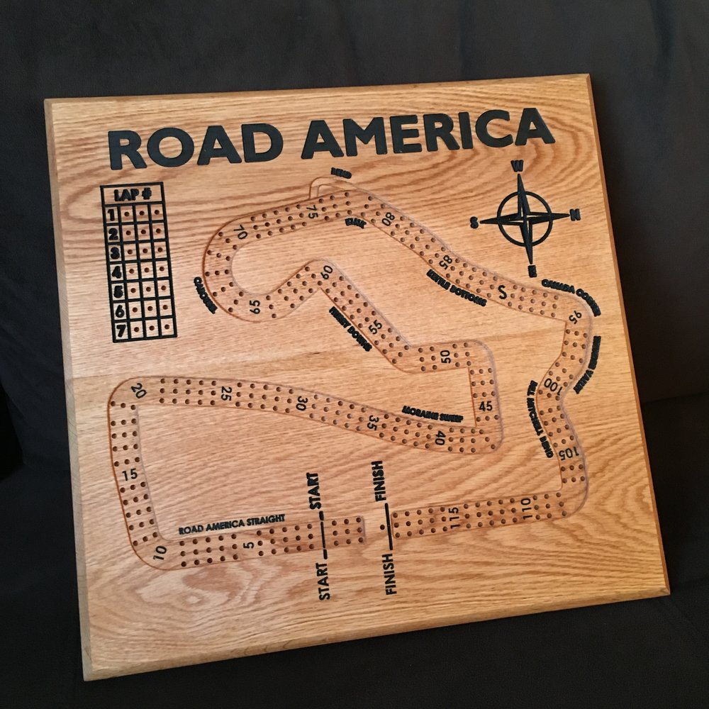 Road America Cribbage Board