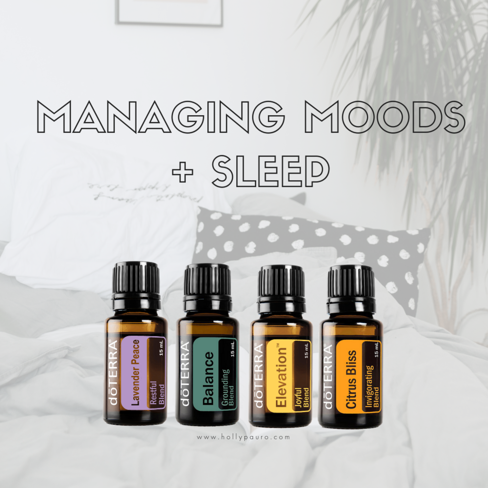 Managing Moods + Sleep - 15ml Balance : Ground + Calm Overwhelm15ml Citrus Bliss : Uplift + Inspire15ml Lavender Peace : Sleep + Rest15ml Elevation : Joyful + Happy