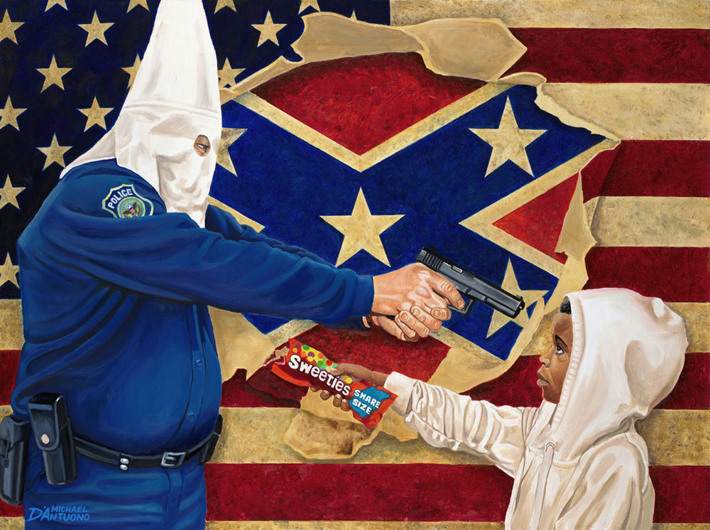 - Two students chose picture depicted young black boy in a hoodie extending skittles to a police officer wearing a KKK hood. White student is struck by the violence of this picture. Black student shares identifying with this picture.